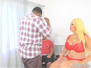cougar Alura Jenson makes her daughters boyfriend observe as she gets drilled