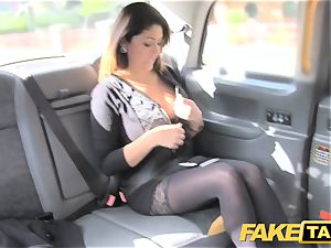 fake cab immense facial jism shot for brown-haired in tights