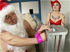 handsome Christmas elf trussed up and porked by Santa