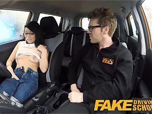 fake Driving school half japanese little student pulverizes