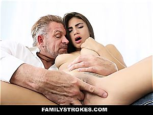 young Latina sandwiched by step-dad and stepbro