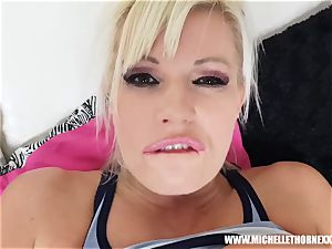 towheaded bitch Michelle Thorne stranger bang after jogging
