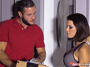 horny dark haired Peta Jensen receives package from the wrong mailman