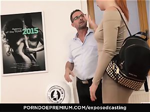 revealed audition - small Russian redhead blasts rock hard