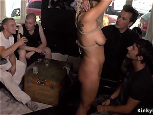 big-chested blondie gang-fucked in public