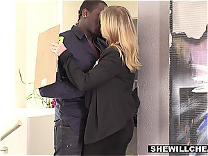 Britney Amber scores a touchdown with a big black cock