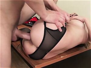 Russian worker Exploited for fuckfest By hot cougar manager