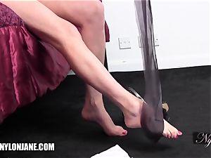 cougar slides fabulous lengthy legs inside velvety nylon tights