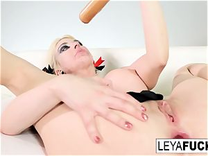 handsome Leya Falcon takes off at a gold facialed disrobe club