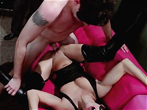 men observe on as Britney Amber and Nikki Daniels group plumb