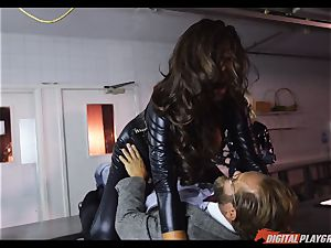 gagging honies Amirah Adara and Ava Koxxx take ginormous spunk-pump down the mouth