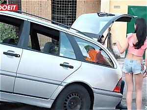 LETSDOEIT - teen pummels senior guy For Free Car Repair