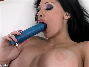 kinky stunner Aletta Ocean screws her pinkish fuck-hole with her favorite blue plaything