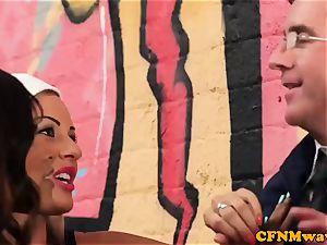 femdom street artist Lissa love gives suck off
