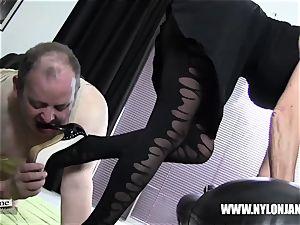 Satin panties nylon manmeat foot adore jack with mummy