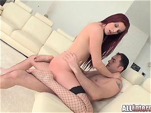 Tall female Mira's slit is penetrated and filled with spunk