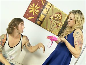 doggie pummeling and behind the scenes fun with Dahlia Sky