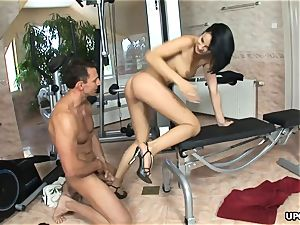 brown-haired Abbie Cat banged her personal trainer all day