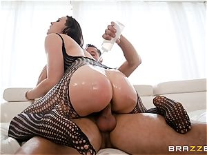 greasing up the labia of Chanel Preston and stretching her out