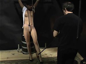 short hair nubile gets candle paraffin wax on melons endures domination & submission