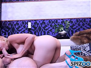 Sarah Vandella deepthroating and ravaging a fat stiffy