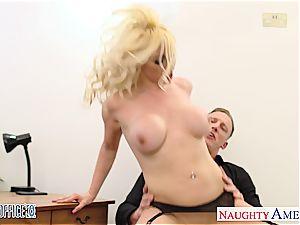 Vixen Victoria expecting to get a promotion riding a big boner
