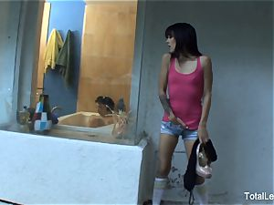 nice dark-haired sees her stepsister take a bathtub
