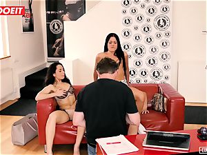euro honies love rectal three way during audition