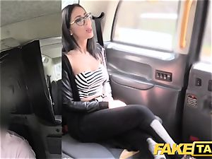fake cab Spanish brown-haired with lovely clean-shaven puss