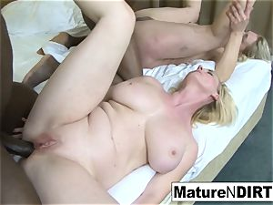 2 ash-blonde grandmothers have an multiracial 4some