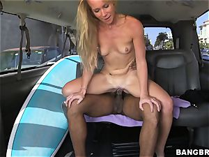 Sunny Stone tears up black beef whistle in the back seat