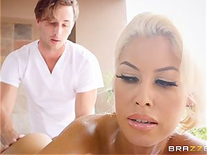 naughty big-titted Bridgette B greased up and boinked in her tight poon