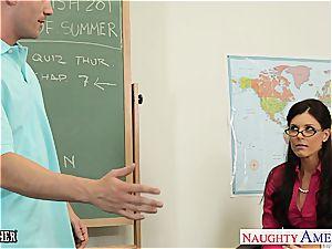 tiny boobed schoolteacher India Summer drill her nubile college girl