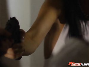 Policeman helps out Jasmine Jae cover up her filth