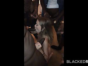 BLACKEDRAW nubile gets passed around and plowed by gang of BBCs