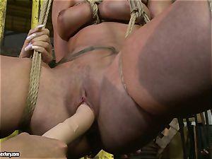 Kathia Nobili and Mandy Bright dildo pounding stiff
