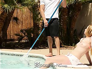 Pool guy ravages uber-sexy sandy-haired