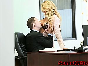 garrulous secretary makes her manager extra glad with her puss
