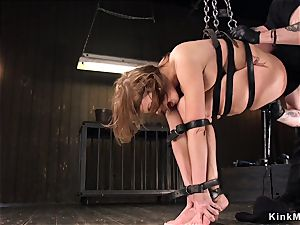 chesty well-lubed hotty cunt vibrated in bondage