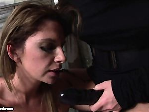 Kathia Nobili lets a molten dame fellate her wire on