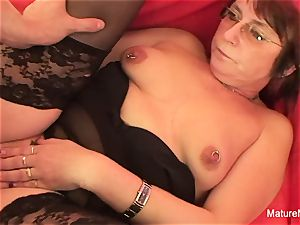 Punky pierced grandmother luvs to gargle and bang