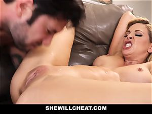 SheWillCheat cheating wifey Gags on pecker