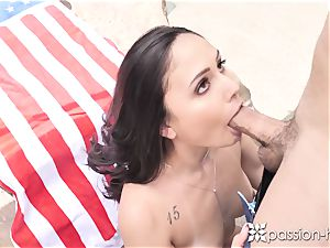 flamy dark-haired with petite baps penetrated into the oblivion next to the pool