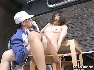 Masturb chinese honey with plaything and love
