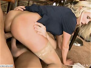 drunk Head with his acquaintance penetrated barmaid