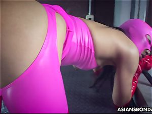 Impecable plowing of a masked cock-squeezing bum chinese perv