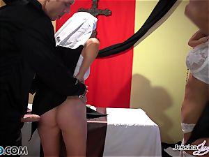 mischievous nuns Jessica Jaymes and Nikki Benz pleasuring gods cravings