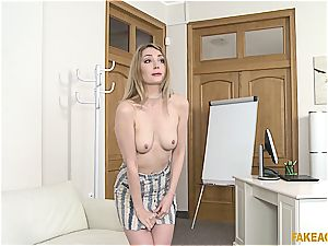 towheaded cutie wields the agent with her amazing tits and pink puss