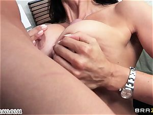 son observes as his parent nails his mature domina with huge boobies