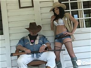 kinky cowgirl displaying her ginormous mounds
